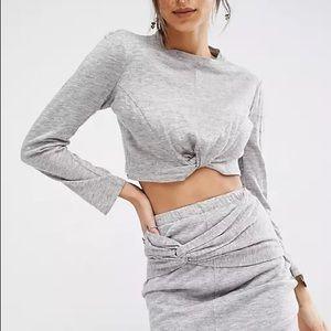 Kendall + Kylie Grey Twisted Crop Top